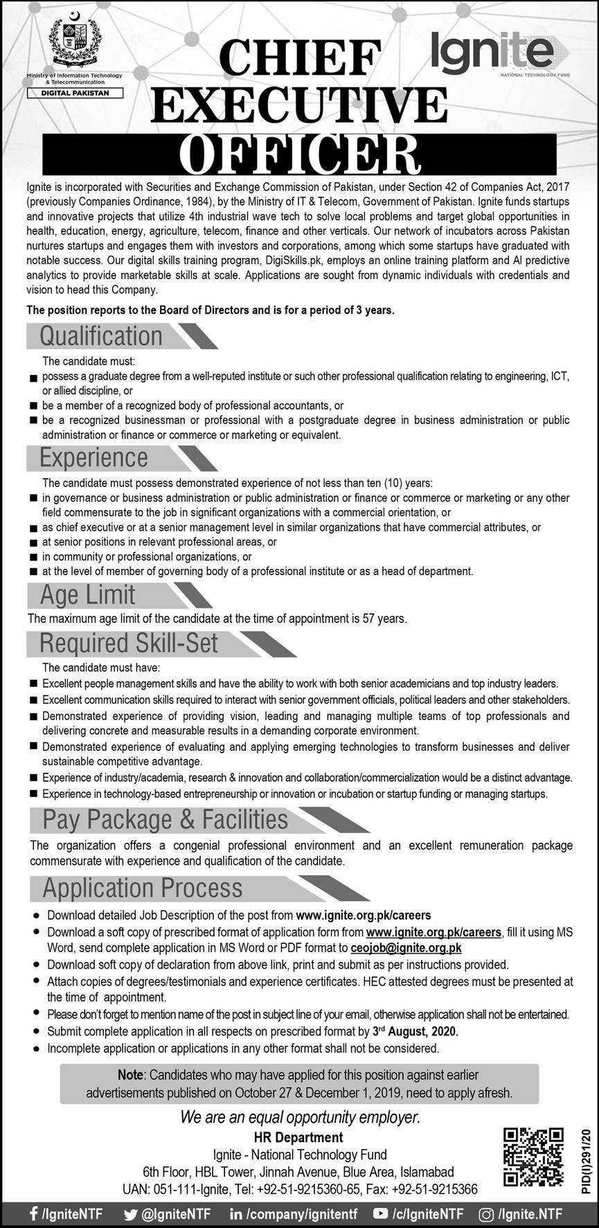 Chief Executive Officer CEO Job 2020 For Islamabad