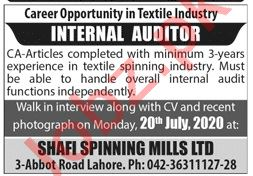 Shafi Spinning Mills Lahore Jobs 2020 for Internal Auditor