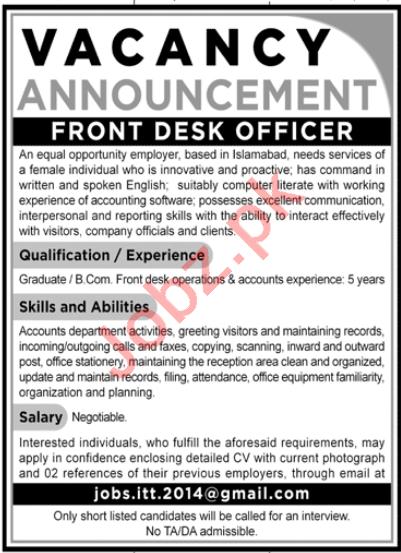 Front Desk Officer Jobs 2020 in Lahore