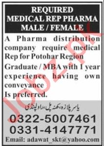 Male & Female Medical Representative Jobs 2020
