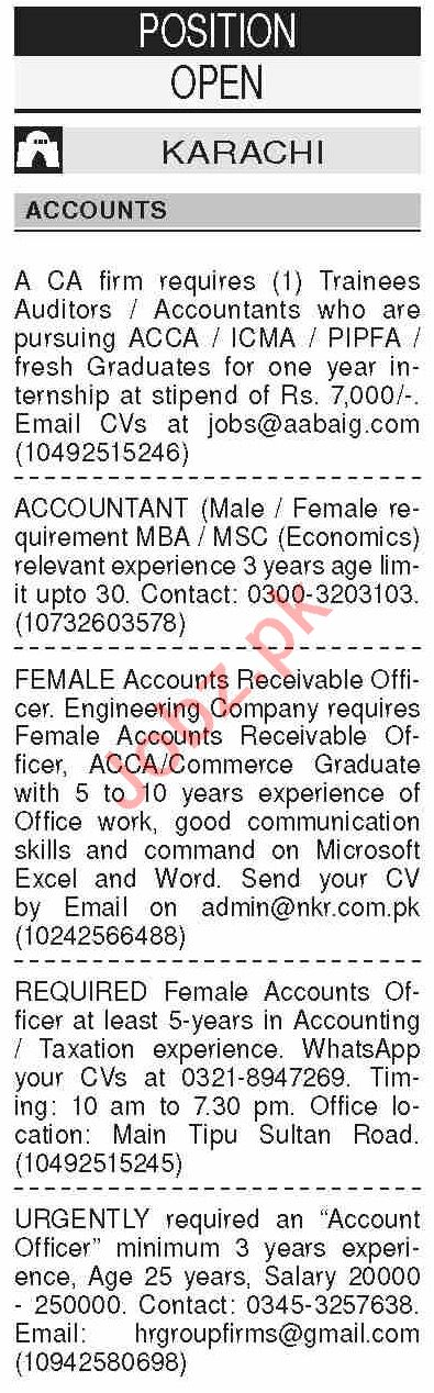 Dawn Sunday Classified Ads 19th July 2020 for Accounts Staff