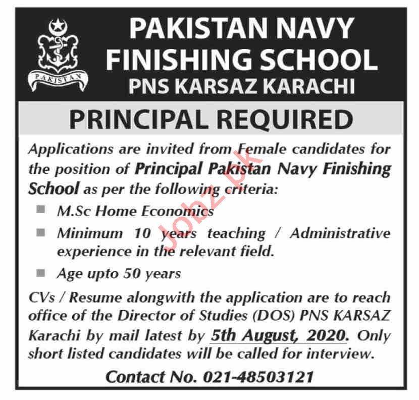 Pakistan Navy Finishing School PNS Karsaz Jobs 2020