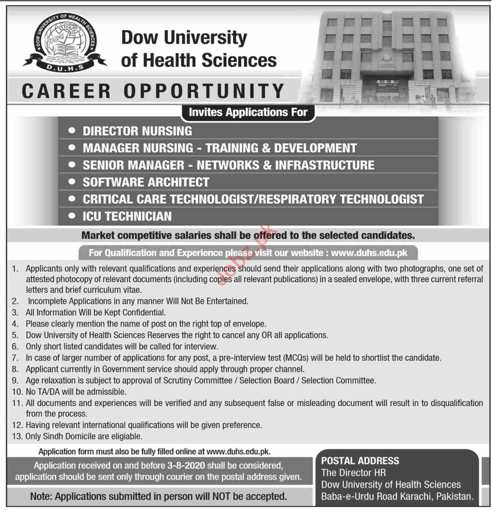 DUHS University Jobs 2020 for Director & Manager Nursing