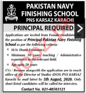 Principal Jobs in Pakistan Navy Finishing School PNS Karsaz