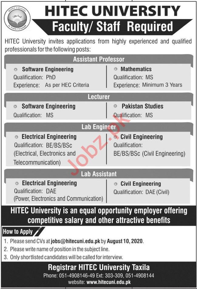 HITEC University Taxila Cantt Jobs 2020 for Professors