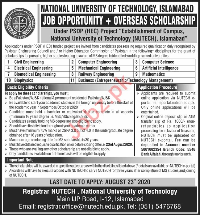 Professor & Lecturer Jobs in NUTECH Islamabad Jobs 2020