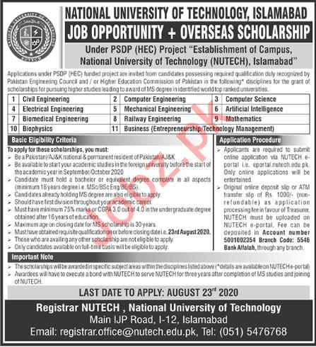 NUTECH University Islamabad Faculty Jobs 2020