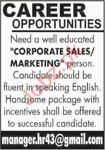 Corporate Sales & Corporate Marketing Jobs 2020 in Karachi