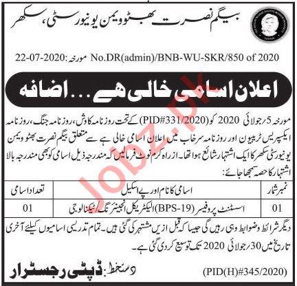 BNB Women University Sukkur Jobs 2020 for Professors