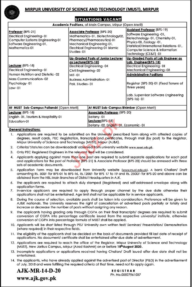 MUST University Mirpur Jobs 2020 for Professors