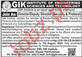 GIK Institute of Engineering Sciences & Technology Jobs 2020