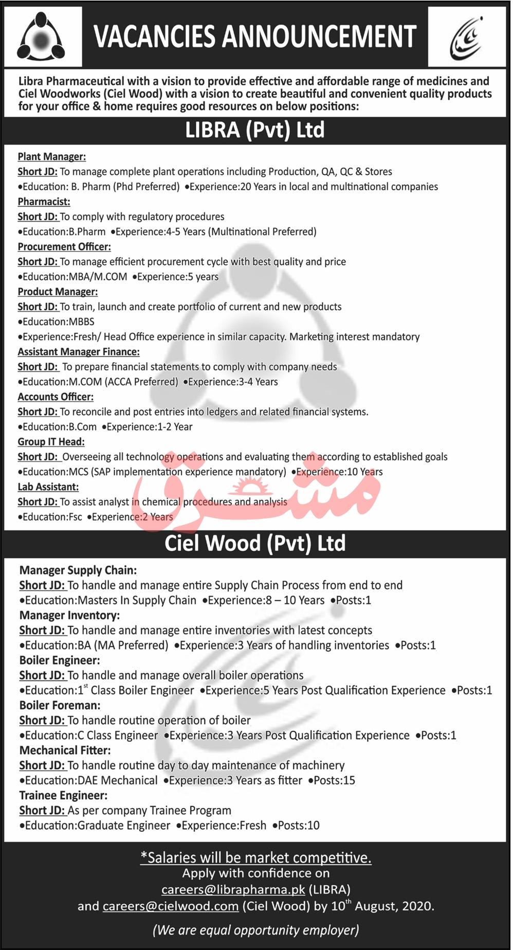 Libra Pharmaceuticals & Ciel Wood Industries Jobs 2020