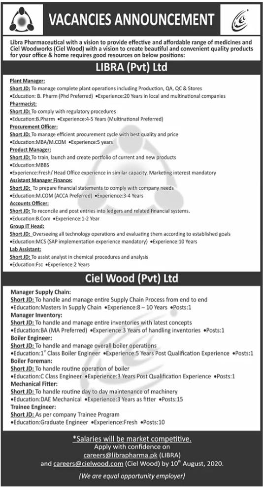 Pharmaceutical Staff Jobs 2020 in Peshawar KPK
