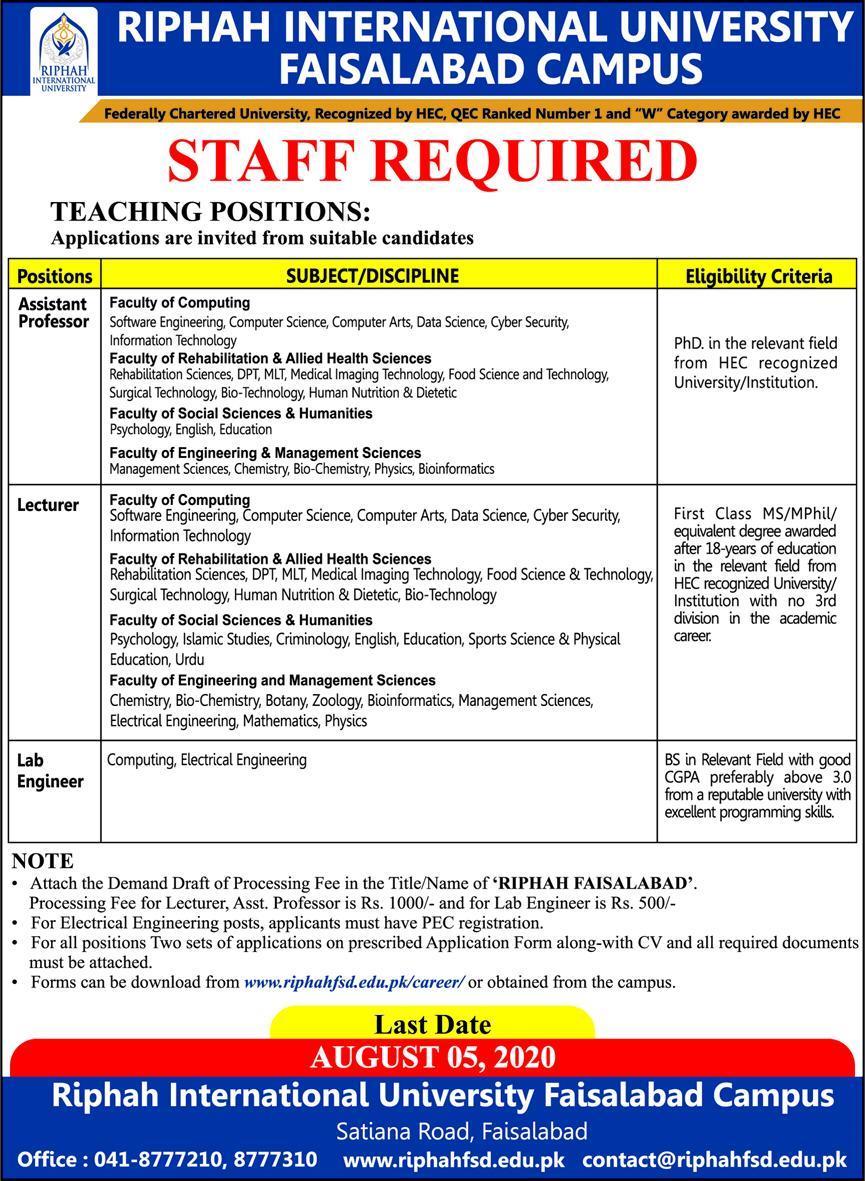 Riphah International University Faisalabad Campus Jobs 2020