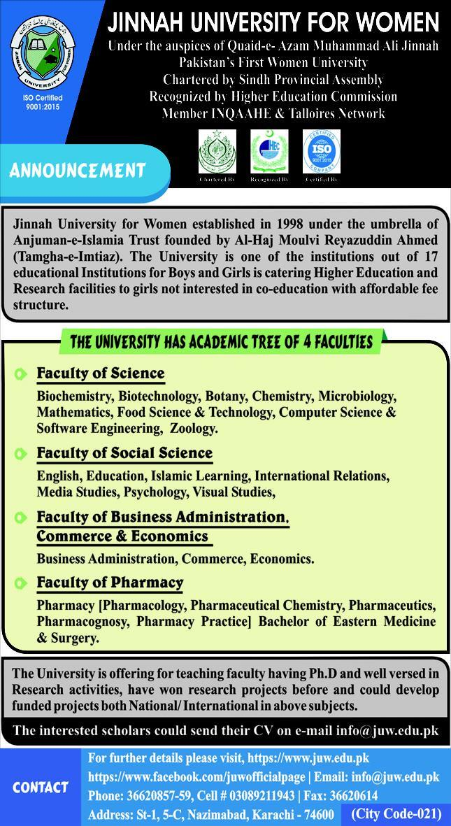 Jinnah University For Women Jobs 2020 in Karachi