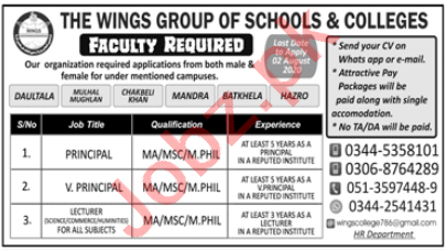 Wings Group of Schools & College Islamabad Jobs 2020