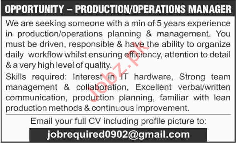 Production Manager & Operations Manager Jobs 2020 in Karachi