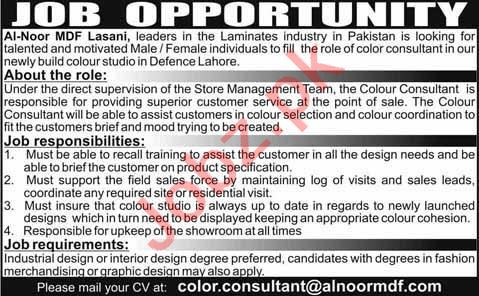 Al Noor MDF Lasani Lahore Jobs 2020 for Color Consultant