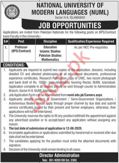NUML University Islamabad Jobs 2020 for Professors