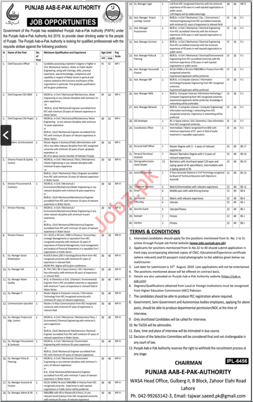 Pak Aab e Pak Authority Jobs 2020 for Directors & Managers