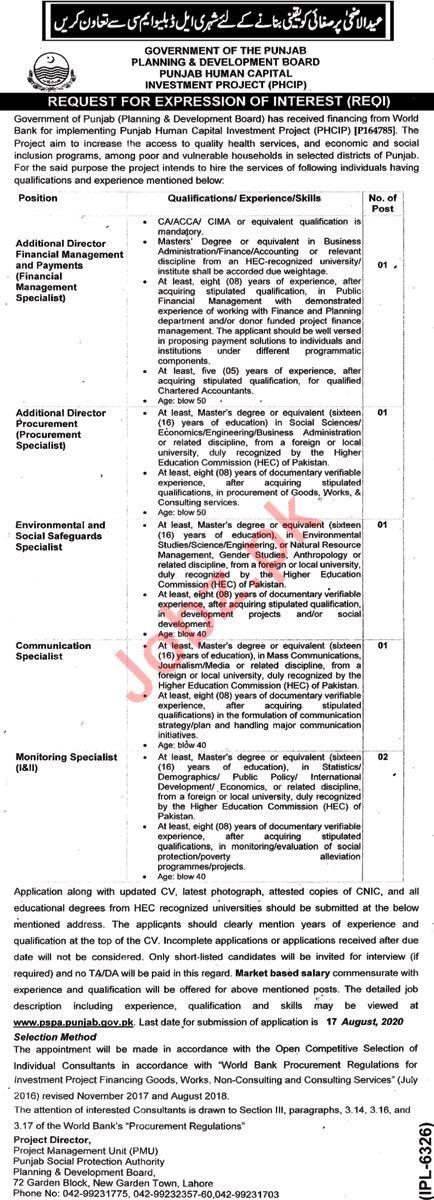 Punjab Human Capital Investment Project PHCIP Jobs 2020