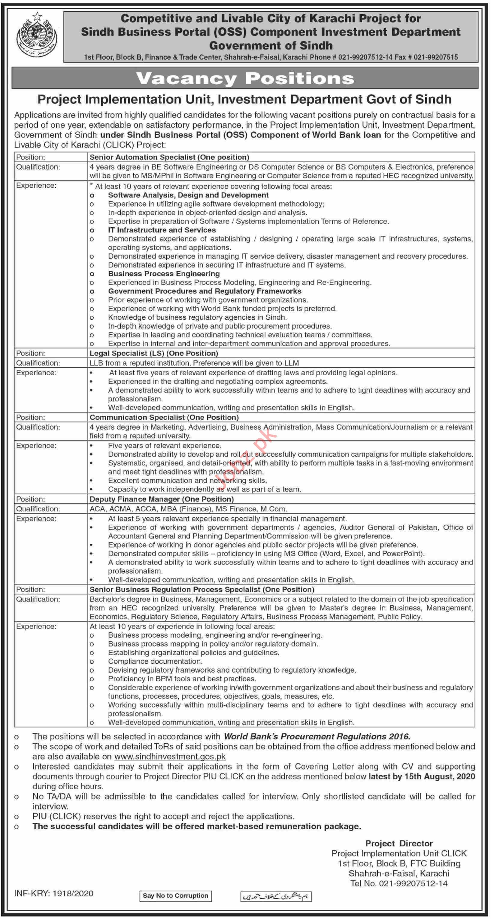 PIU CLICK Competitive & Liveable City Karachi Project Jobs