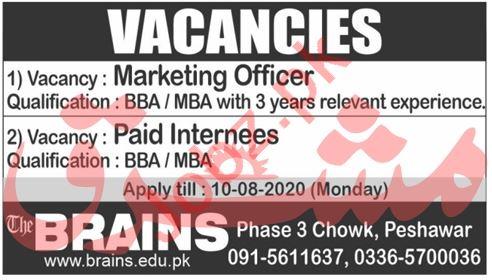Brains Institute Peshawar Jobs 2020 for Marketing Officer