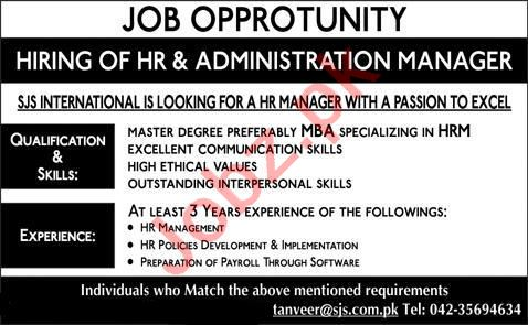 HR & Administration Manager Jobs 2020 in SJS International