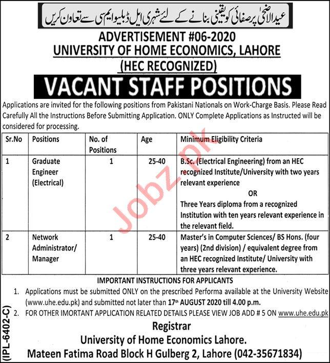 University of Home Economics UHE Lahore Jobs for Engineers