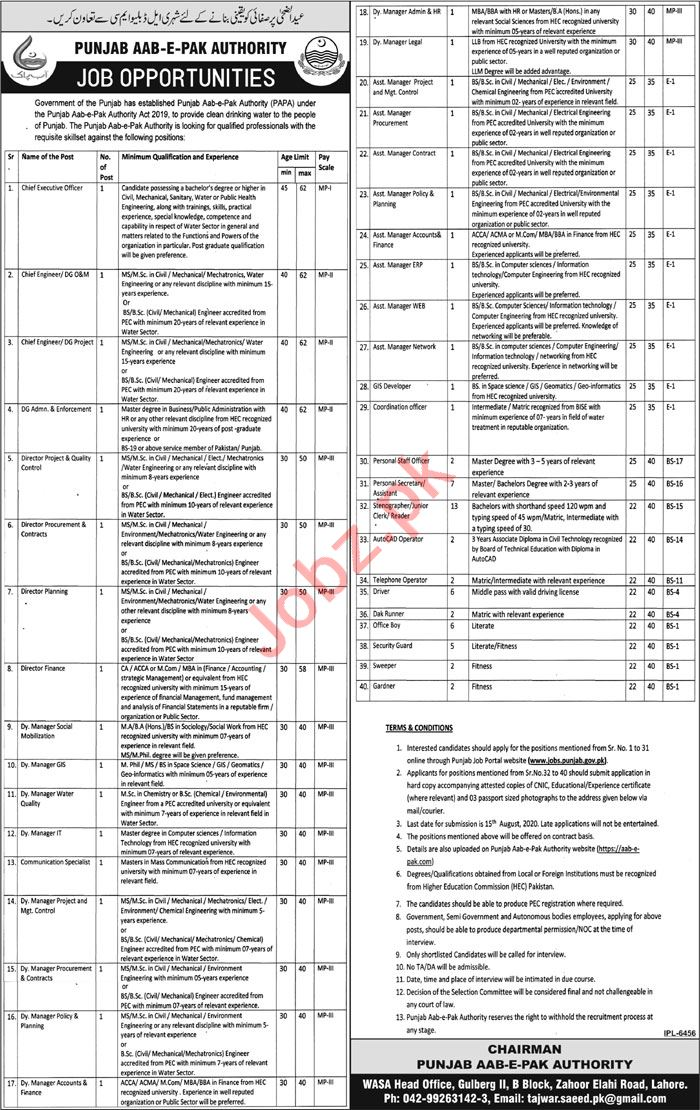 Manager & Asst Manager Jobs 2020 in Pak Aab e Pak Authority