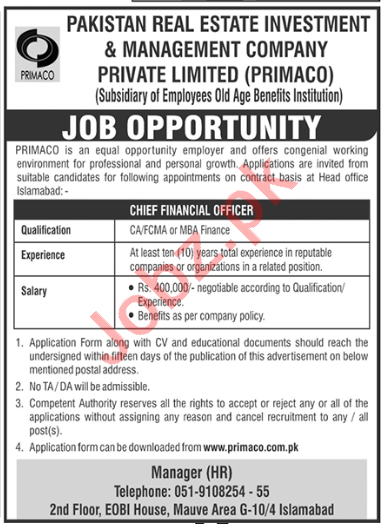 Chief Financial Officer Jobs 2020 in PRIMACO Islamabad