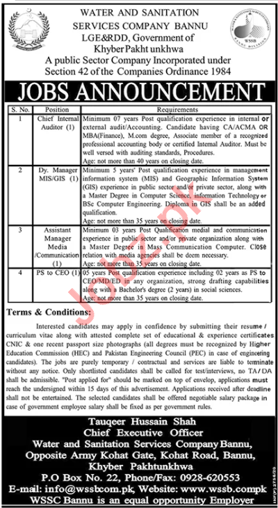 WSSC Bannu Jobs 2020 for Deputy & Assistant Manager