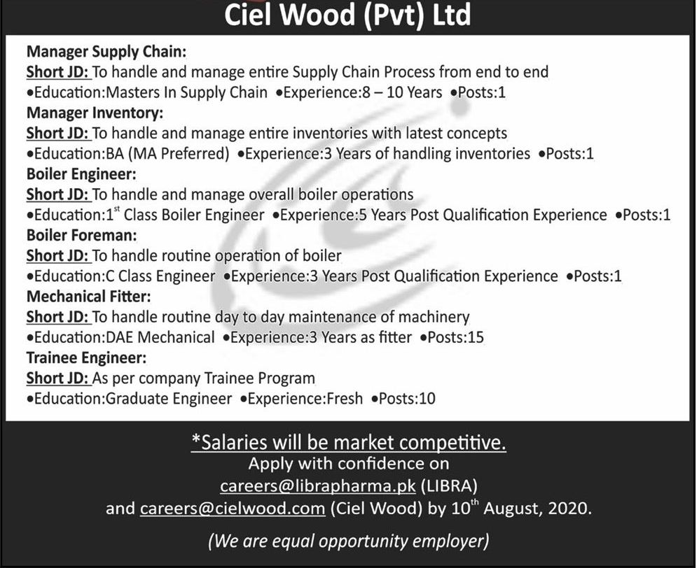 Ciel Wood Industries Peshawar Jobs 2020 for Manager