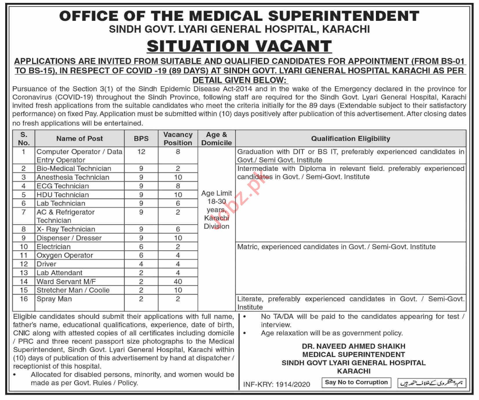 Sindh Govt Lyari General Hospital Karachi Jobs 2020