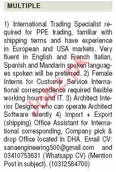 International Trading Specialist & Architect Jobs 2020