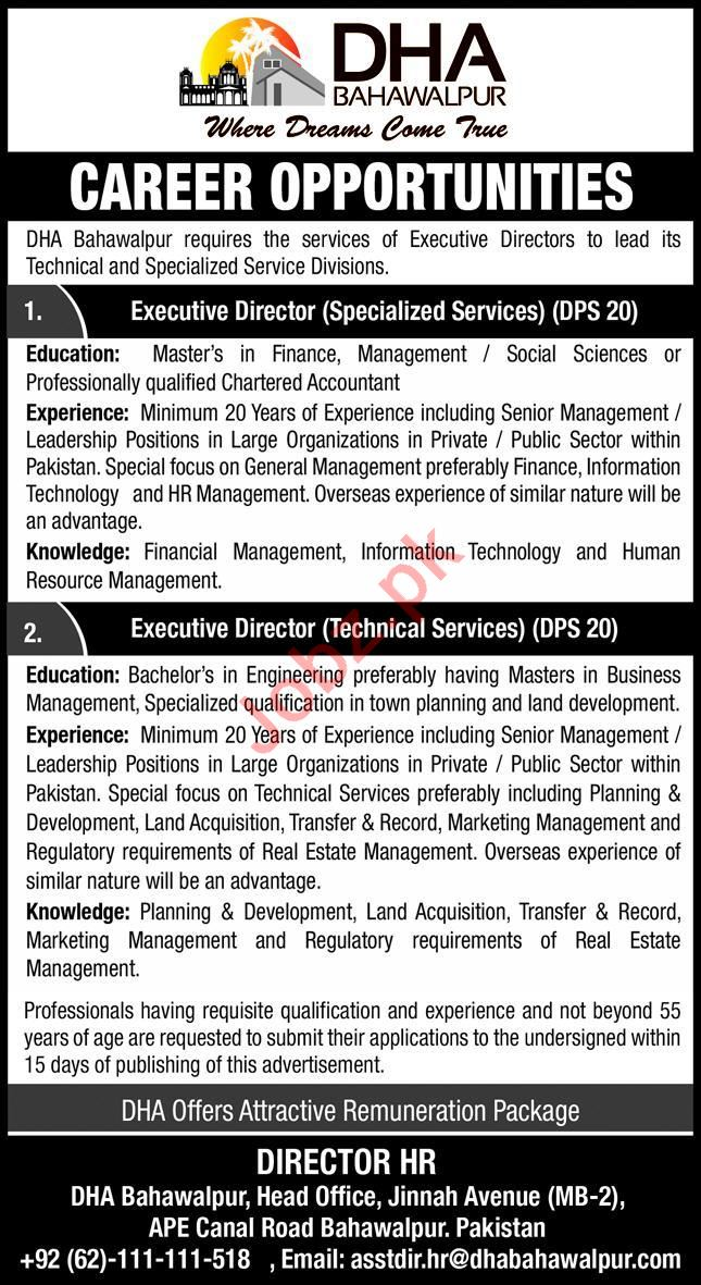 DHA Bahawalpur Jobs 2020 for Executive Director