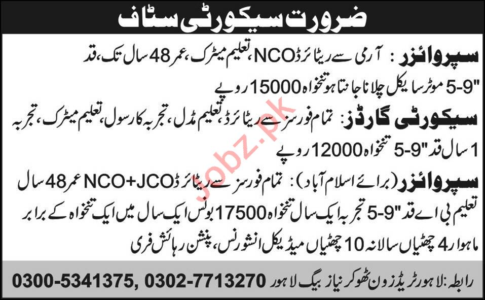 Security Guard & Supervisor Jobs 2020 in Lahore