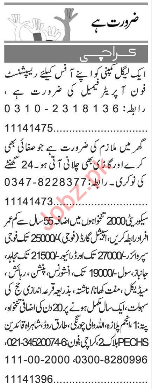 Receptionist & Security Guard Jobs 2020 in Karachi