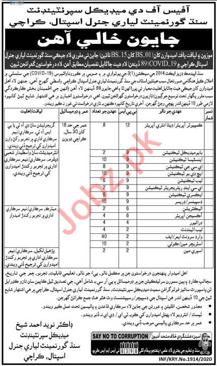 Lyari General Hospital Karachi Jobs 2020 for Technicians