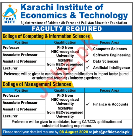 College of Computing & Information Sciences PAF KIET Jobs
