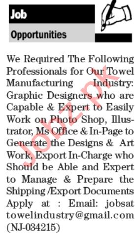 Graphic Designer & Export Manager Jobs 2020 in Karachi