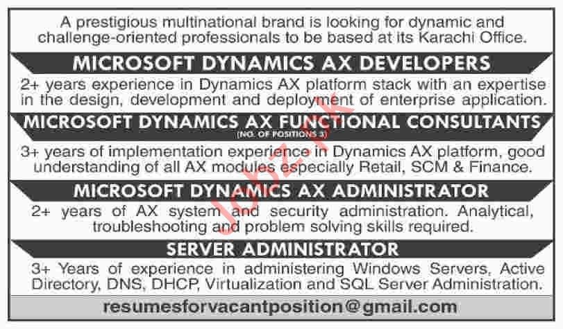 Microsoft Dynamics AX Developers & Consultant Jobs 2020