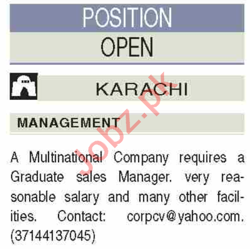 Manager & Sales Manager Jobs 2020 in Karachi