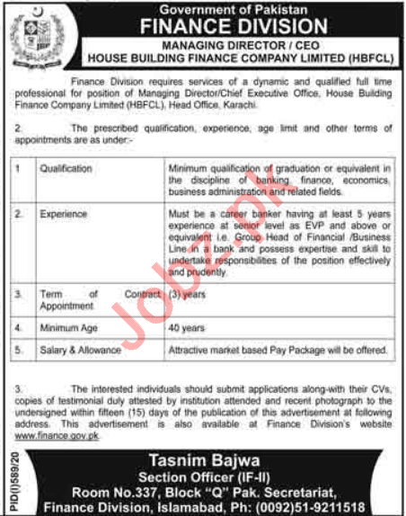 House Building Finance Company Limited HBFC Jobs 2020