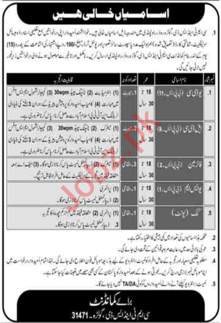 Pakistan Army CMT&SD Golra Rawalpindi Jobs 2020