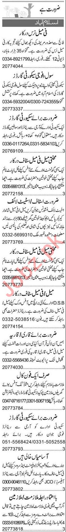 Receptionist & Nurse Jobs 2020 in Islamabad