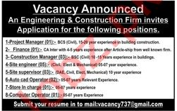 Construction Manager & Project Manager Jobs 2020 in Lahore