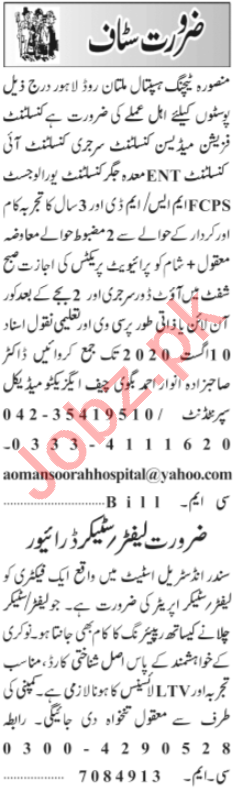 Mansoora Teaching Hospital Jobs 2020 for Medical Consultant