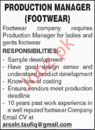 Production Manager Jobs 2020 in Karachi