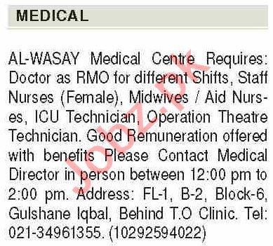 ICU Technician & Resident Medical Officer Jobs 2020